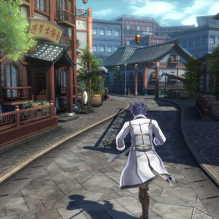 Rean Schwarzer running through East Street in Crossbell.