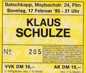 Klaus Schulze Batschkapp 1985 Karte