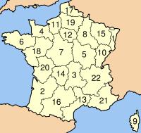 FranceRegionsNumbered