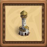 Golden lighthouse framed