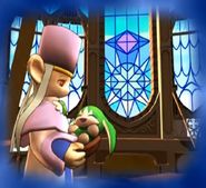 The reborn baby Sorrow in the High Priestess's arms as seen in the ending