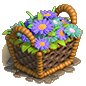 Basket purple flowers