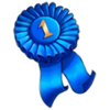 Winner ribbon blue