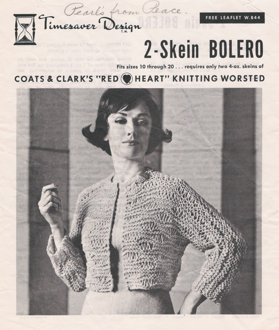Coats Clark W844 2 Skein Bolero Knitting And Crochet Pattern