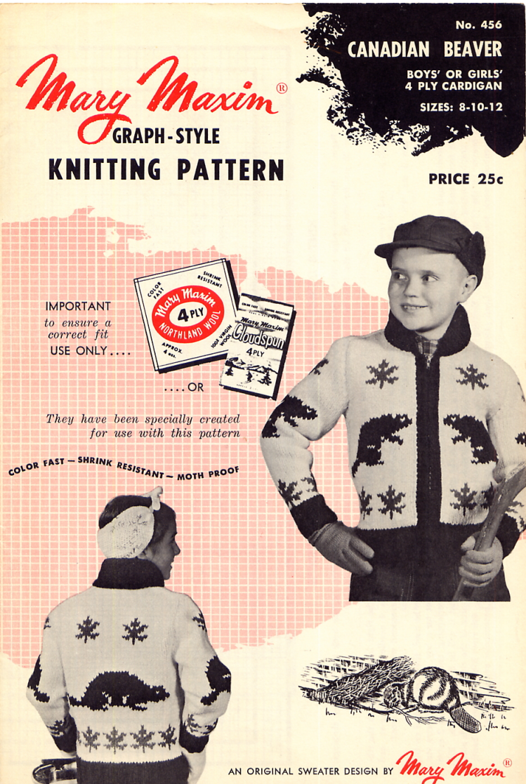 Mary Maxim No. 456 Graph Style Knitting Pattern Canadian Beaver ...