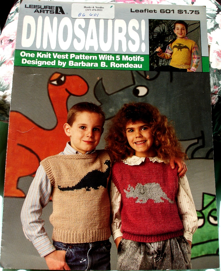 7536ac6df74 Leisure Arts Leaflet 601 Dinosaurs Knit Vest | Knitting and Crochet ...