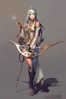610x907 1005 Myo 2d illustration character archer girl female woman fantasy elf picture image digital art