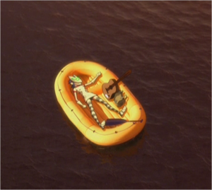 Noodle lying down on the lifeboat