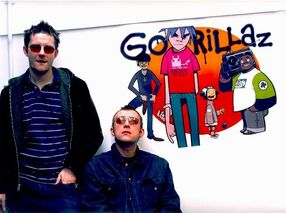 Jamie Hewlett and Damon Albarn in the early days of Gorillaz