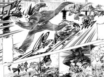 Akira running on water and saving Kongara