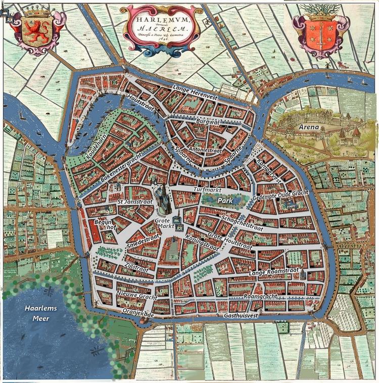 Nieuwe kaart Haarlem straten geen cijfers