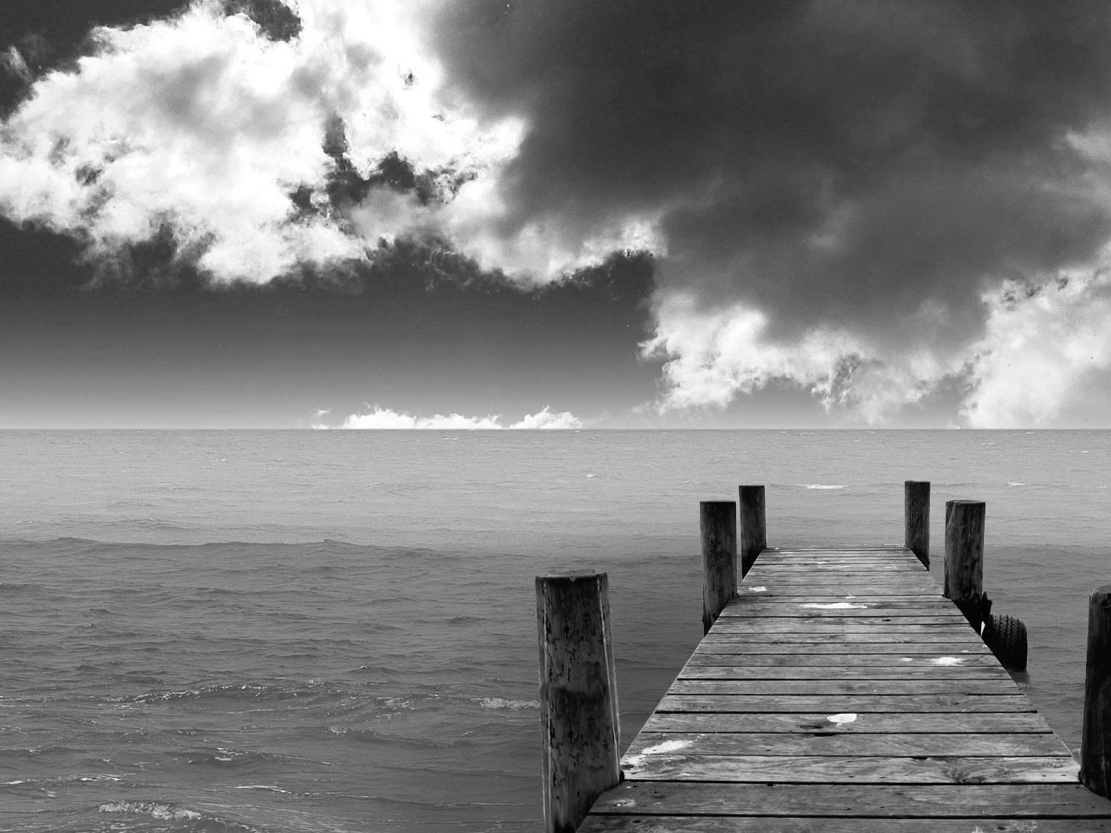Image Black And White Beach Landscape Wallpaper Hd 12jpg