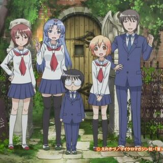 Photo at the end of the opening showing the ESP society members. (left to right) Moritani, Mifune, Daichi, Kotoura, and Manabe