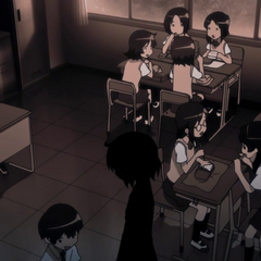 Haruka is ignored by some of her former classmates during the lunch time