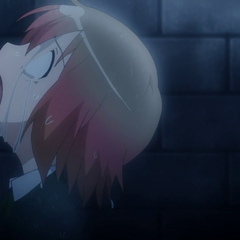 Haruka falls into a cry of despair after the loss of her little friend
