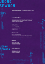Jeong Sewoon Day tracklist