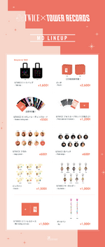 TWICE &TWICE release event official goods Tower Records lineup