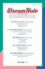 DreamNote Dream us track list