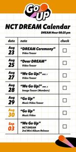 NCT Dream We Go Up calendar