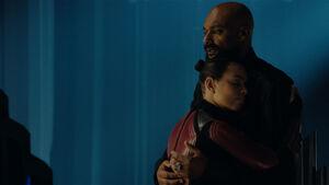 Lyta-Zod hugging Dru-Zod