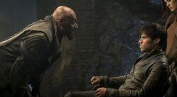 Dru-Zod interrogates Seg-El