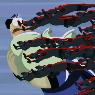 The Lao Shu stealing from a villager in a 2D sequence