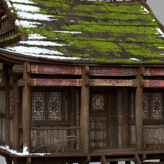Hut exterior model art by Steam Bian