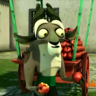 Yao takes apples from a villager's cart