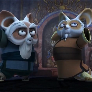 Shifu and his father posing after defeating Tong Fo