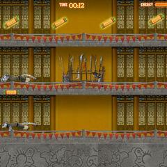 Las hermanas Wu en un mini-juego en Kung Fu Panda Mundia