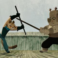 Mei Ling practicando con un estudiante.