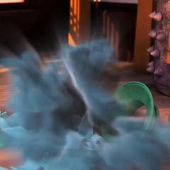 Po drops the demon's jar and a blue mist unveils