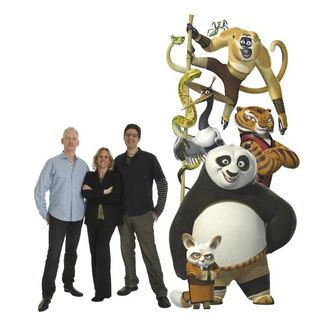 Characters and filmmakers pose