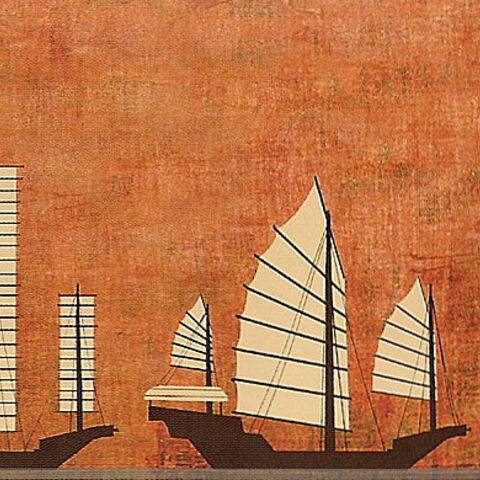 Early concept artwork of Gongmen City's ships by Bill Kaufmann