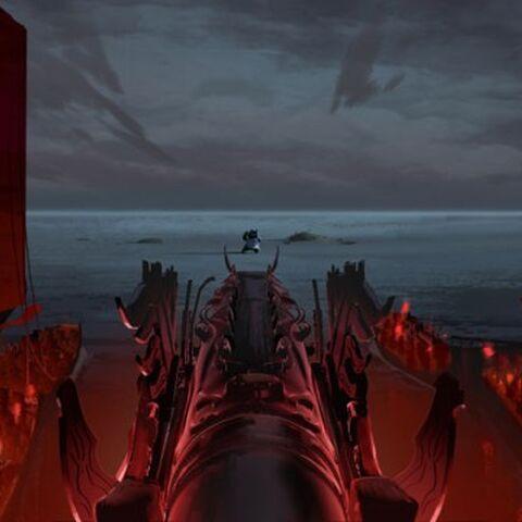 Concepto de la batalla final en el puerto, por Mike Yamada.