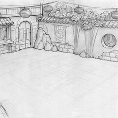 Noodle Shop court rough layout; art by Brian White