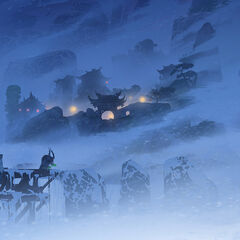 Concept art by Max Boas featuring the frozen waterfall