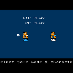 Mode and character select screen in the Western versions of the game.