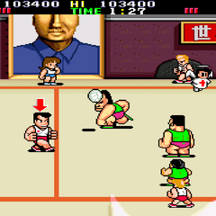Playing against China in <i>Super Dodge Ball</i>.