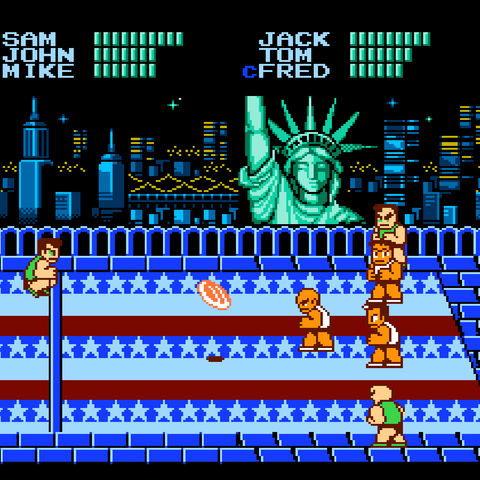 The game's first match in the <i>Super Dodge Ball</i>.