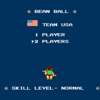 Bean Ball mode settings screen. The team's flag is shown and it only allows two players.