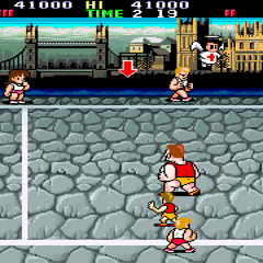 Gameplay against the English team in <i>Super Dodge Ball</i>.