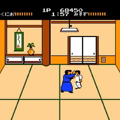 <b>Kunio</b> fighting <b>Misuzu</b> on Stage 3.
