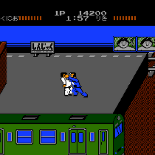 <b>Kunio</b> fighting <b>Riki</b> in the final area of Stage 1 on Level 1.