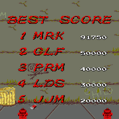 Name entry and ranking screen in <i>Renegade</i>.