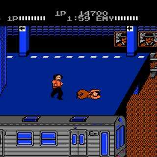<b>Mr. K</b> fighting <b>Jack</b> in <i>Renegade</i>.