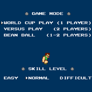 Mode select screen in the North American version. Bean Ball allows only a maximum of two players.