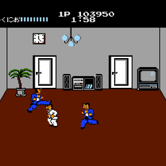 Kunio fighting clones of Riki in one of the rooms of the final stage.