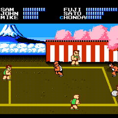 The match against the Japanese team in <i>Super Dodge Ball</i>.