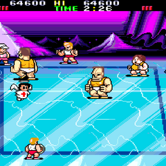 The match against Iceland in <i>Super Dodge Ball</i>.